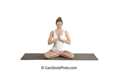 arrière-plan., yoga, ensemble, femme, mettre, décontracté, position, méditer, blanc, mains