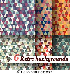 arrière-plans, articles, retro, triangles., 6, ensemble