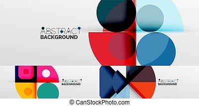 arrière-plans, autre, minimaliste, résumé, éléments, lignes, triangles, carrés, géométrique, rectangles, fait, cercles