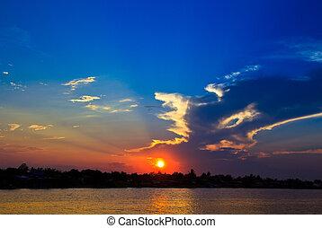 arrière-plans, ciel, nuages, coucher soleil, nature