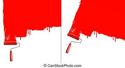 arrière-plans, deux, wall., rouleau, vector., blanc, peinture, rouges