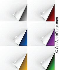 arrière-plans différents, tourné, couleurs, pages blanches