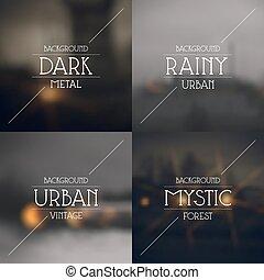 arrière-plans, ensemble, sombre, urbain, brouillé