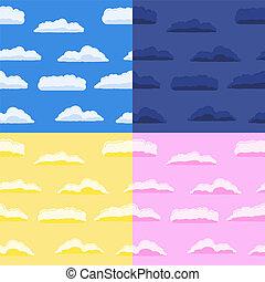 arrière-plans, nuages, seamless