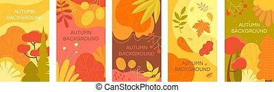 arrière-plans, résumé, automne, ensemble