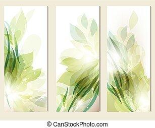 arrière-plans, résumé, floral, ensemble