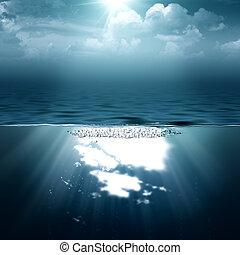 arrière-plans, résumé, ton, mer, océan, conception