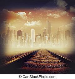 Arrière-plans, résumé, ville, route, Transport