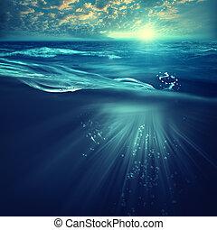 arrière-plans, surface, océan, mer profonde, vagues, marin