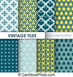 arrière-plans, vendange, -, seamless, motifs, vecteur, conception, 8, carreau, album