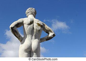 arrière, sport olympique, -, statue