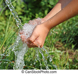 arriba, agua, gracioso, manos limpias, cierre, caer
