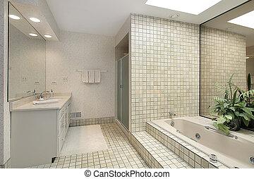arriba, baño, paso, maestro, azulejo, tina