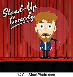 arriba, cómico, estante, hilarante, tipo, caricatura