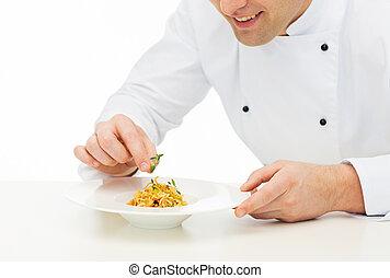 arriba, chef, cocinero, plato, cierre, decorar, macho, feliz