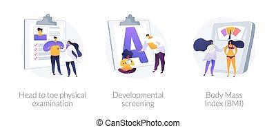 arriba, cheque, general, metaphors., vector, concepto, salud