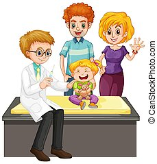 arriba, cheque, salud, escena, doctor, niña