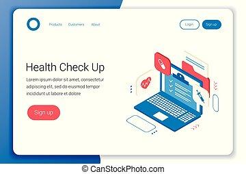 arriba, clínica, salud, concept., cheque