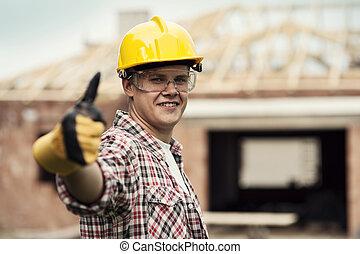 arriba, construcción, el gesticular, pulgares, trabajador