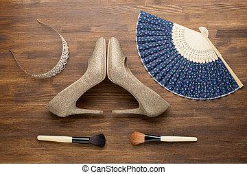 arriba, de, esencial, moda, mujer, objects.