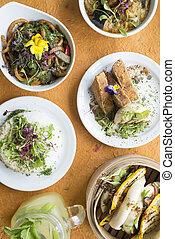 arriba, de, un, variedad, de, asian-style, alimento vegetariano