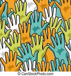 arriba, democracia, patrón, manos