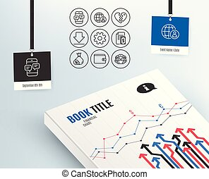 arriba, descargar, servicio, efectivo, icons., interrupción, reclutamiento, internacional, pago, signs.