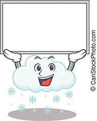 arriba, diseño, nube, mascota, tabla, levantamiento, nevoso