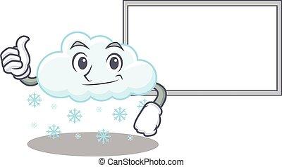 arriba, diseño, traer, nube, pulgares, tabla, blanco, ...