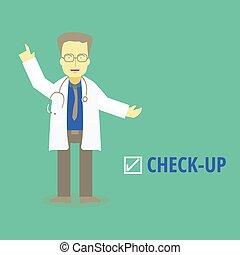 arriba., doctor, médico, vector, ilustraciones, cheque