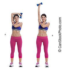 arriba, dumbbell, extensiones, tríceps
