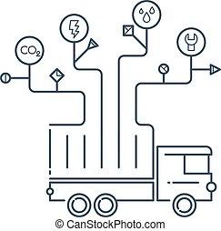 arriba, estación, cheque, vehículo