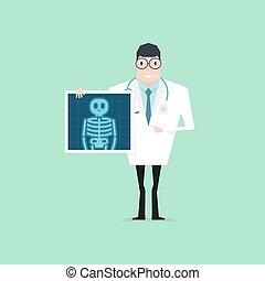 arriba., film., doctor, salud, tenencia, cheque, radiografía