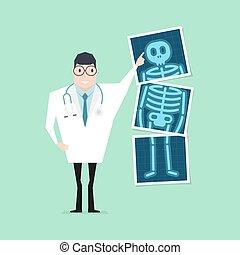 arriba., film., señalar, doctor, cheque de salud, ...