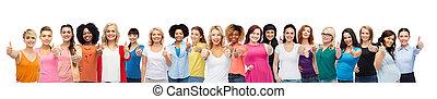 arriba, grupo, mujeres, actuación, internacional, pulgares