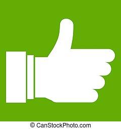 arriba, icono, pulgar verde, señal