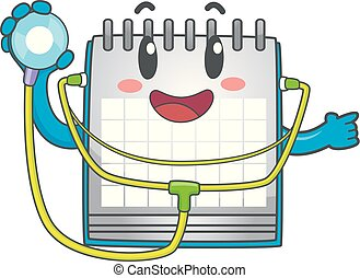 arriba, ilustración, calendario, bebé, cheque, mascota