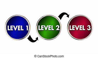 arriba, ilustración, uno, 1, 3, niveles, levantamiento, dos,...