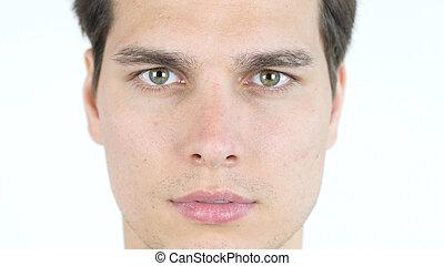 Arriba, joven, retrato, cierre, hombre, guapo