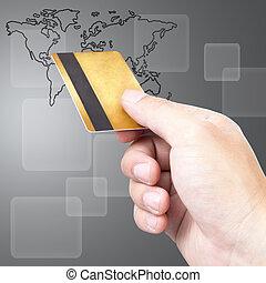 arriba, máquina, credito, durante, cierre, utilizar, pago, tarjeta