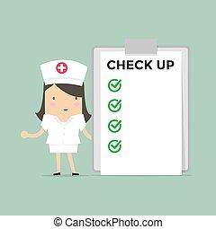 arriba., médico, lista, enfermera, cheque