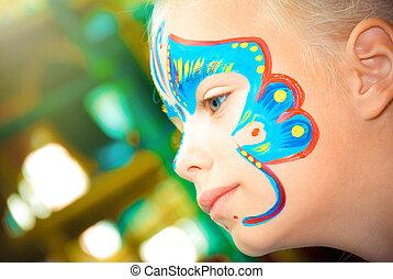 Arriba, marca, cara, bastante, niño, niña, Pintura