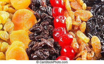 arriba, mezcla, fruta, secado, cierre, vista
