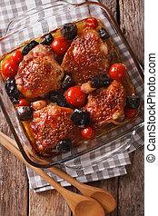Arriba, mostaza, muslo,  vertical, cima, hongos, salvaje, cierre, pollo, cocido al horno, tomates, vista