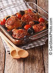 Arriba, mostaza, muslo,  vertical, hongos, salvaje, cierre, pollo, cocido al horno, tomates