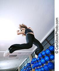 arriba., mujer, saltar, feliz, bailando