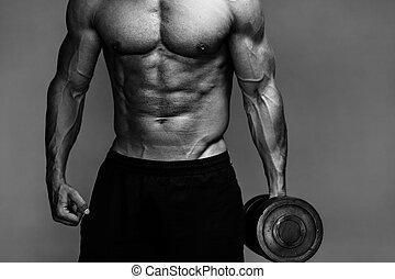 arriba, muscular, culturista, monocromo, cierre, tipo