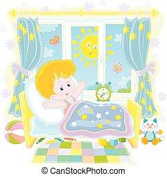 arriba, niño pequeño, mañana, brillante, despertar, soleado