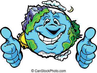 arriba, planeta, vector, pulgares, tierra, caricatura, gesto...