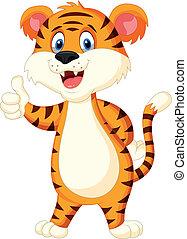 arriba, pulgar, lindo, tigre, caricatura